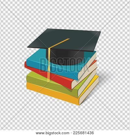 Vector Pile Of Books And Mortarboard On Transparent Background.