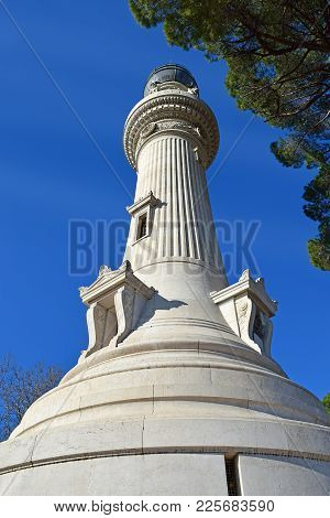 Manfredi Lighthouse At The Gianicolo ( Janiculum Hill ) In Rome, Italy. Built In 1911 Was A Gift Fro