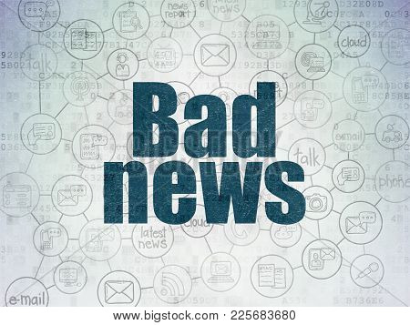 News Concept: Painted Blue Text Bad News On Digital Data Paper Background With  Scheme Of Hand Drawn