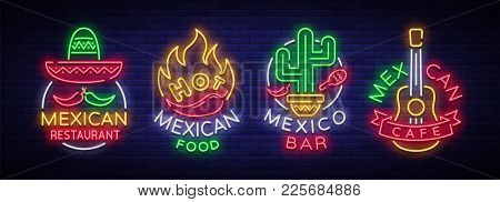 Mexican Food Is A Collection Of Neon Signs. Bright Glow Sign, Neon Banner, Luminous Logo, Symbol, Ni