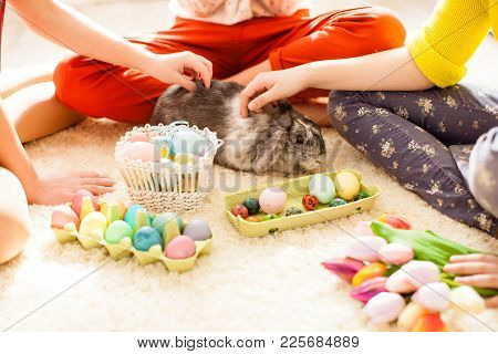 Girlfriends  In Bunny Ears Sitting On The Floor And Playing With Easter Rabbit. The Concept Of Prepa