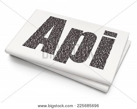 Programming Concept: Pixelated Black Text Api On Blank Newspaper Background, 3d Rendering
