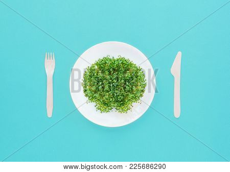 Top View Plate With Fresh Organic Sprout Micro Greens Served With Wooden Cutlery On The Bright Turqu