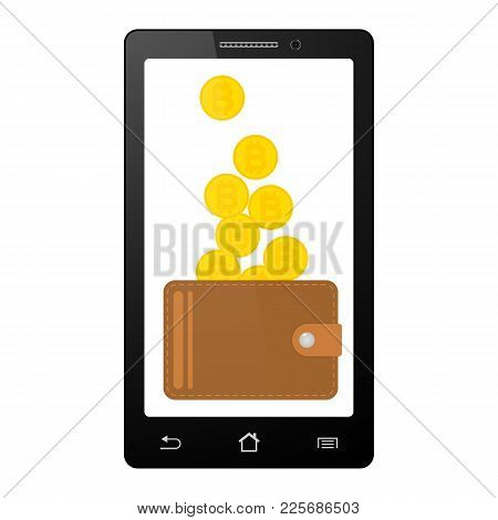 Design Concept Of Cryptocurrency Technology, Bitcoin Exchange, Mobile Banking. Transfer From Smartph