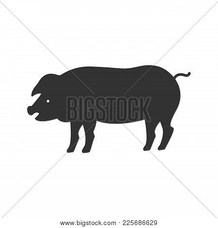 Pig Glyph Icon. Silhouette Symbol. Livestock Farming. Negative Space. Vector Isolated Illustration