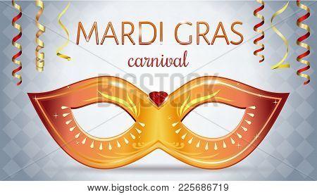 Mardi Gras Festival Design. Greeting Card With Golden Carnival Mask With Gems For Carnival Celebrati