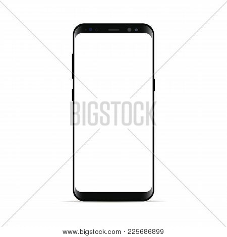 Black Smartphone With Blank Screen Isolated On White Background. Mockup To Showcasing Mobile Web-sit