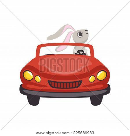 Cute Little Bunny Driving Vintage Red Car, Funny Rabbit Character, Happy Easter Concept Cartoon Vect