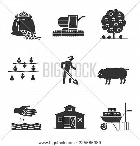 Agriculture Glyph Icons Set. Farming Silhouette Symbols. Flour Bag, Combine Harvester, Fruit Tree, F