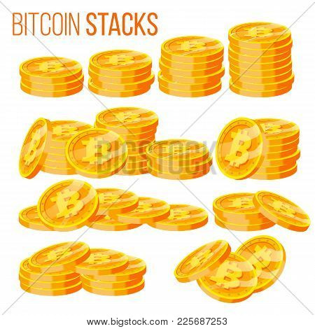 Bitcoin Stacks Set Vector. Crypto Currency. Virtual Money. Gold Coins Stack. Business Crypto Currenc