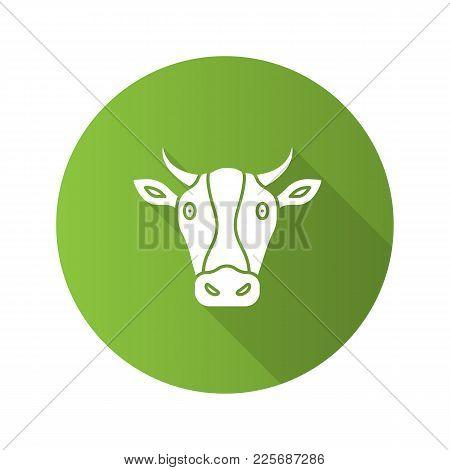 Cow Head Flat Design Long Shadow Glyph Icon. Livestock Farming. Agriculture. Vector Silhouette Illus