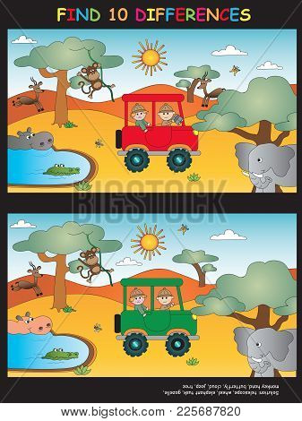 Illustration Game For Children: Find Ten Differences