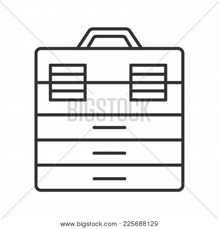 Fishing Tackle Box Linear Icon. Thin Line Illustration. Toolbox. Contour Symbol. Vector Isolated Out
