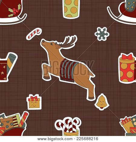 Carton Stickers For Christmas. Deer And Gifts. Brown Seamless Pattern Background. Vector Illustratio