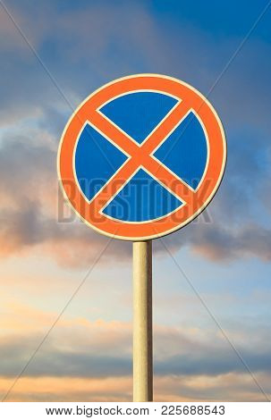Road Sign Parking Is Not Allowed Close Up