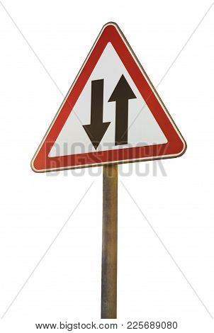 Two Way Traffic Road Sign Close Up