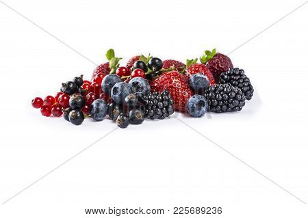 Set Of Fresh Fruits And Berries. Mix Berries Isolated On A White. Ripe Blueberries, Blackberries, Cu