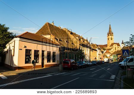 Sibiu - Romania, July 18, 2017: Transylvania. Lutheran Church, Built In The Huet Square, Seen From T