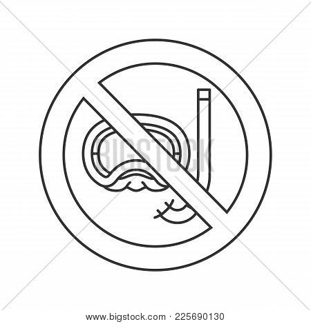 Forbidden Sign With Aqualung Linear Icon. Thin Line Illustration. No Diving Prohibition. Stop Contou