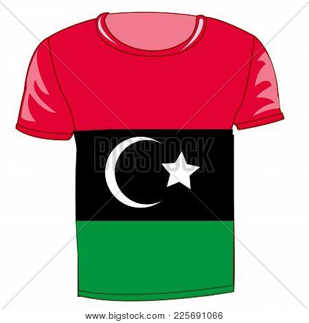 T-shirt Flag Libya On White Background Is Insulated