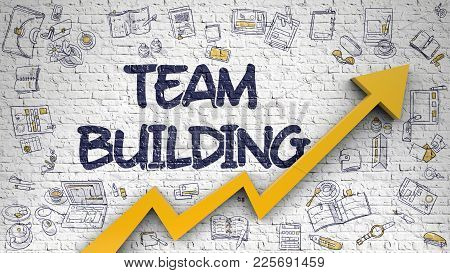 Team Building Inscription On The Modern Style Illustation. With Orange Arrow And Doodle Design Icons