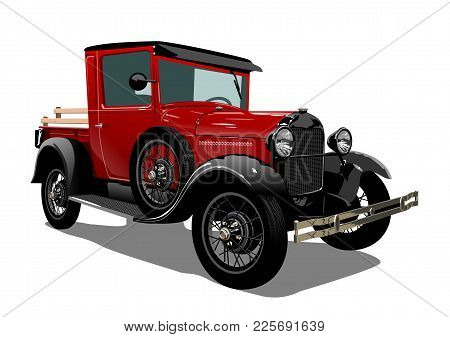 Vector Retro Truck. Available Eps-10 Vector Format Separated By Groups With Transparency Effects For