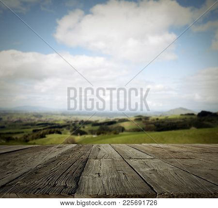 Table top and landscape. Shallow focus.