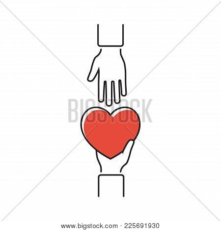 Give Heart, Minimal Line Design. Vector Illustration Flat Style. Holding Red Heart In Hands. Isolate
