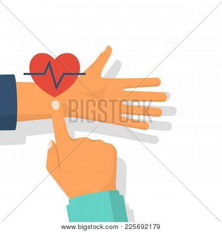 Doctor Measurement Of Pulse. Finger On Hand Vein. Red Heart With A Cardiogram. Vector Illustration F
