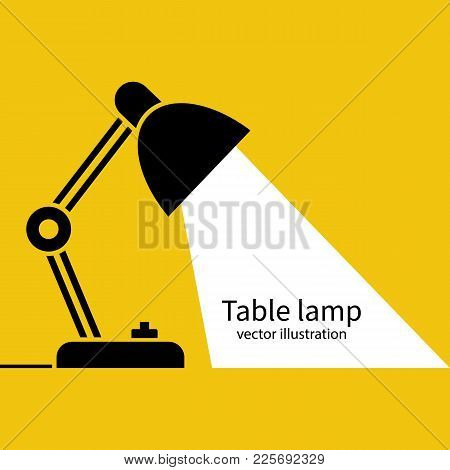 Table Office Lamp. Desktop Electric. Vector Illustration Flat Design. Isolated On White Background.
