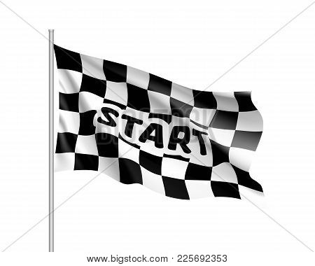 Realistic Flag Auto Racing, Inscription Start, Waving Banner. Symbol Of Start And Finish Of Race Car