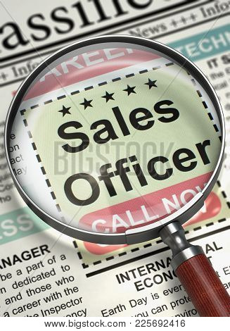 Newspaper With Vacancy Sales Officer. Sales Officer. Newspaper With The Small Ads Of Job Search. Hir