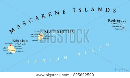 Mascarene Islands Political Map With Capitals, Consisting Of Mauritius, Reunion And Rodrigues. Masca
