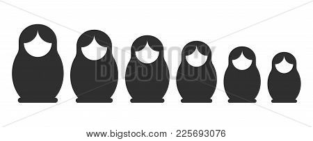 Matryoshka Black Silhouette Set. Russian Nesting Doll Standing In A Line, Stacking Dolls Collection.