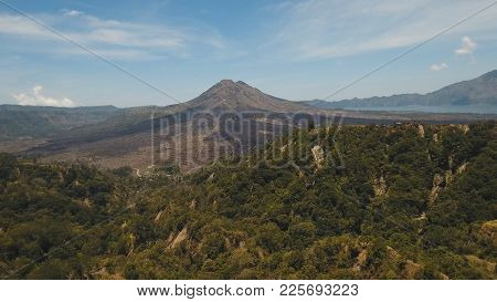 Aerial View Of Mount Batur Volcano In Kintamani. Bali Volcano, Also Referred To As Kintamani Is Popu