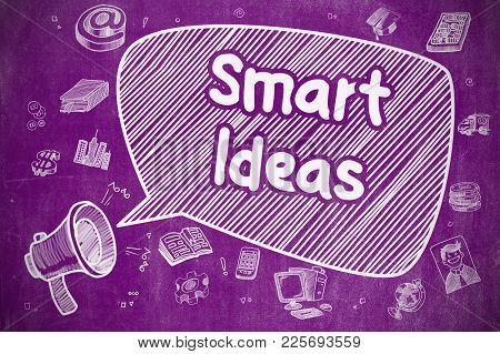Smart Ideas On Speech Bubble. Cartoon Illustration Of Shouting Loudspeaker. Advertising Concept. Bus