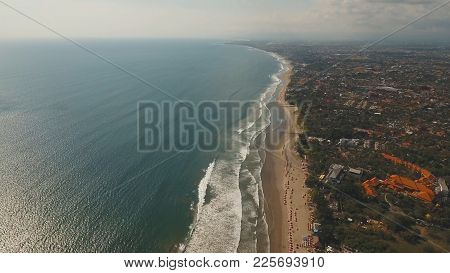Aerial View Of Beautiful Beach, Hotels And Tourists, Bali, Kuta. Beautiful View Nice Tropical Beach