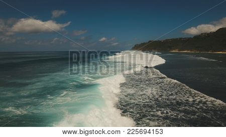Aerial View Of Tropical Beach With Large Wave. Large Waves Of Turquoise Water Crushing On A Beach Me