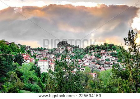 View Of Beautiful Mountain Village Named Baltesiniko And Located In Arcadia, Peloponnese, Greece.
