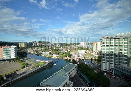 Kota Kinabalu, Malaysia- Jun 19, 2017: Aerial View Of Kota Kinabalu Town (jesselton), The Capital Of
