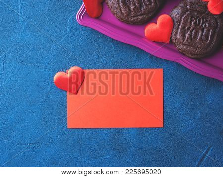 Red Blank Card, Hearts And Cookies Spelling For You. Romantic Home Made Gift