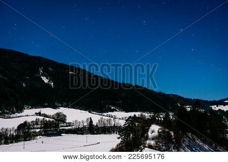 A Night Landscape Photo Shot In Austria