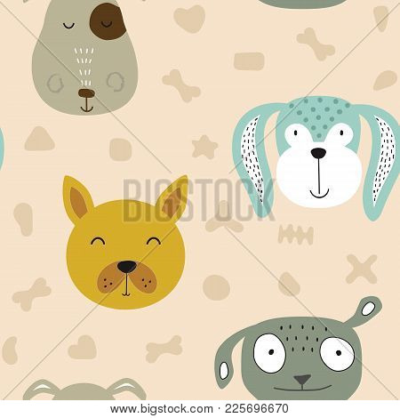 Seamless Vector Childish Pattern With Dog Animal Faces As Backround Or Texture