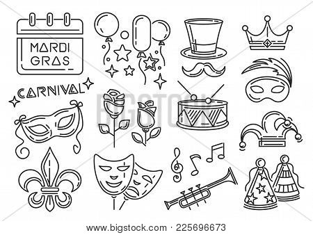 Mardi Gras Carnival Line Icons Set. Icon Collection For Mardi Gras Also Called Shrove Tuesday Or Fat