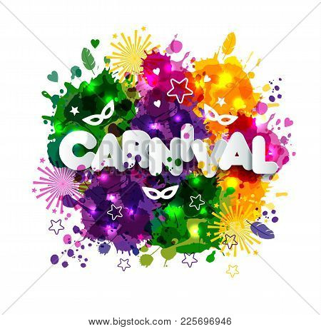 Illustration Of Carnival Mardi Gras On Multicolors Watercolor Stains, Colors Of The Mardi Gras. Carn