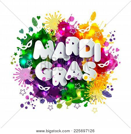Illustration Of Carnival Mardi Gras On Multicolors Watercolor Stains, Colors Of The Mardi Gras.