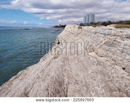 Rocky Shore Of The Caspian Sea. City Of Aktau. Kazakhstan.