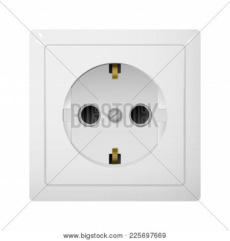 Single Electrical Socket Type F. Power Plug Vector Illustration. Realistic Receptacle From Europe.