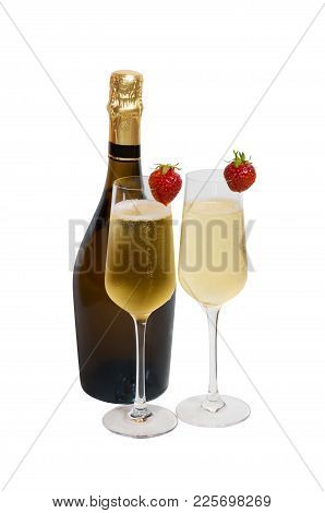 Two Glasses Of сhampagne And Bottle Of Champagne Isolated On White Background