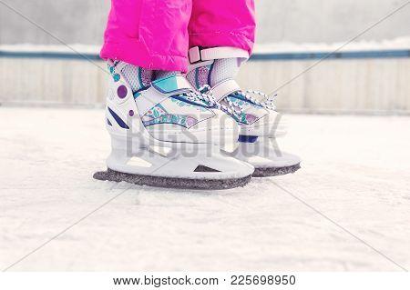 Figure Skating. Children Skating On Ice